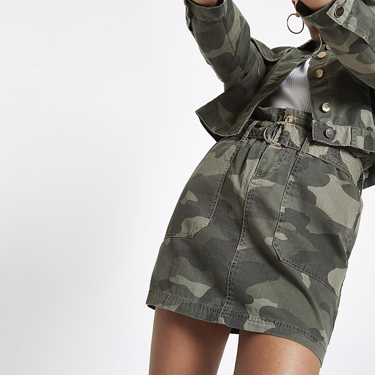 Jupe pratique camouflage kaki à taille froncée