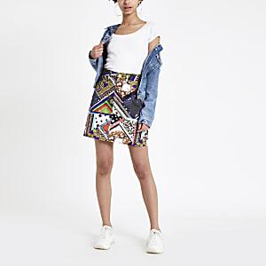 Jeansrock mit hohem Bund und Print