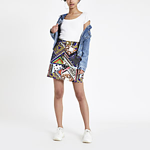 Mixed print high rise denim skirt
