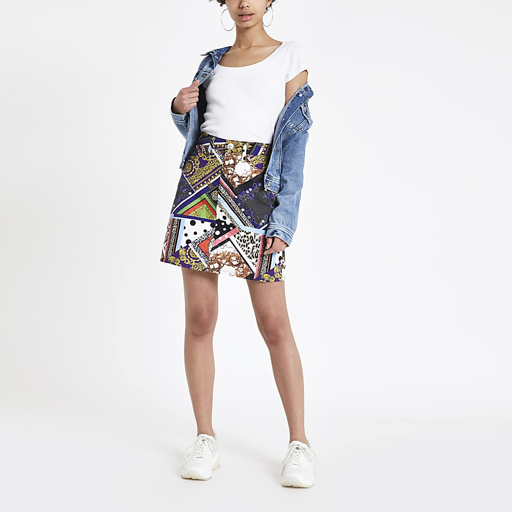 Mixed print high rise denim skirt
