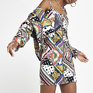 Schwarzes Bodycon-Jeanskleid mit Print