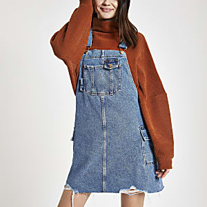 Blue utility pinafore denim dress
