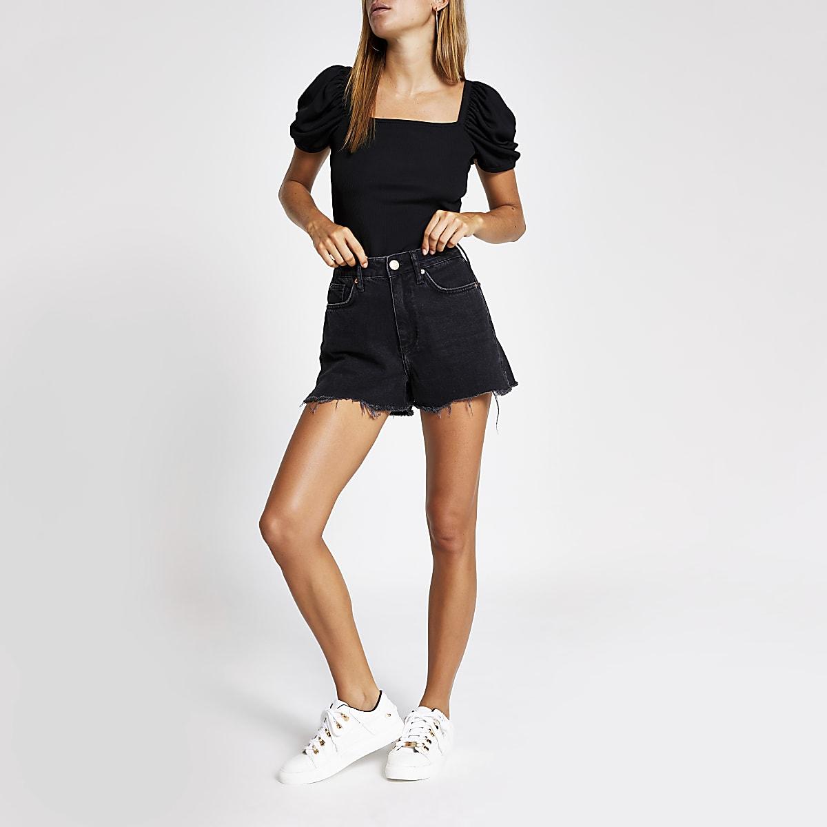 c4f83ed44fd Black Annie washed high waist denim shorts - Denim Shorts - Shorts ...