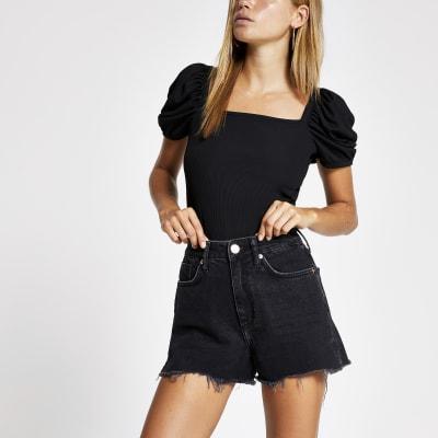 Black Annie washed high waist denim shorts