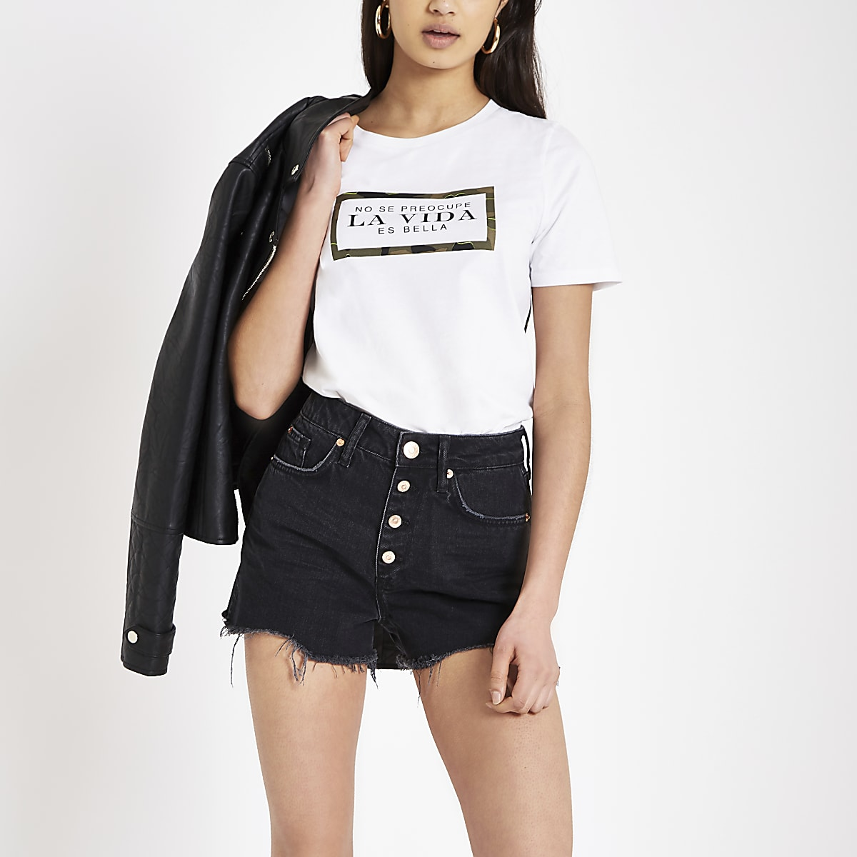 Black Annie washed high waist shorts