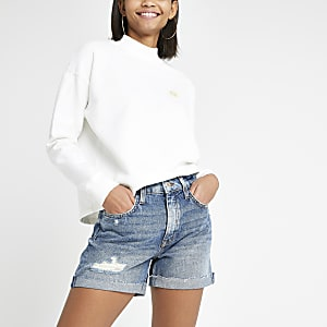 Blue boyfriend denim shorts