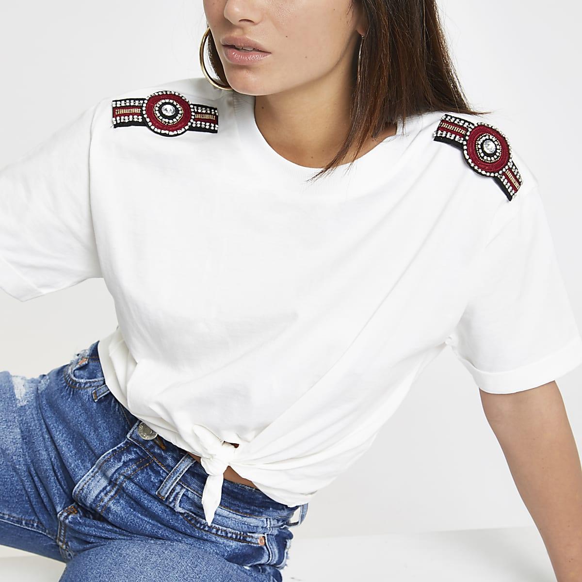 Petite white embellished shoulder T-shirt
