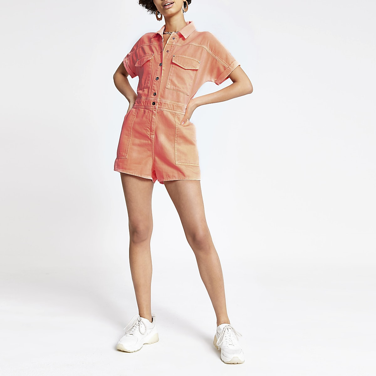 Neon orange utility denim playsuit