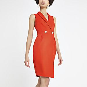 Red bodycon wrap tux dress