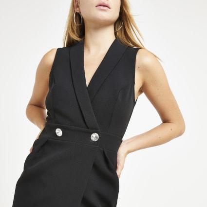 Black embellished tux boydcon midi dress