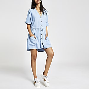 Denim button front smock dress