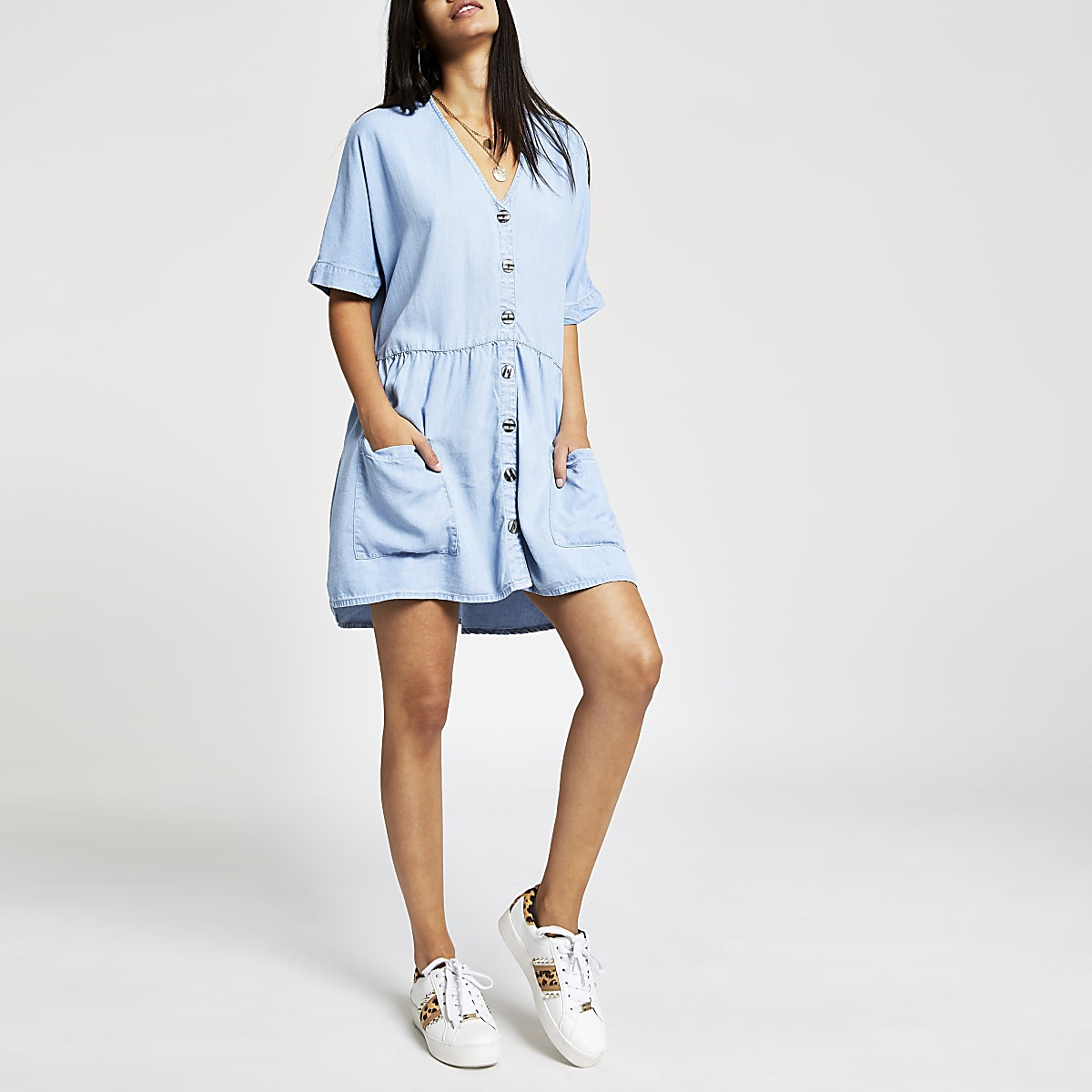 Denim button front swing dress