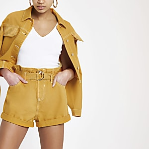 Dark yellow paperbag denim shorts