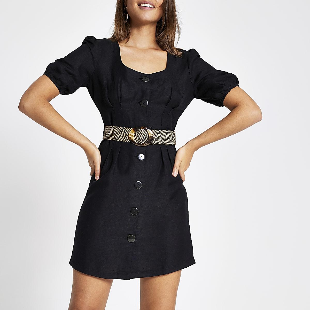 Black button front belted linen mini dress