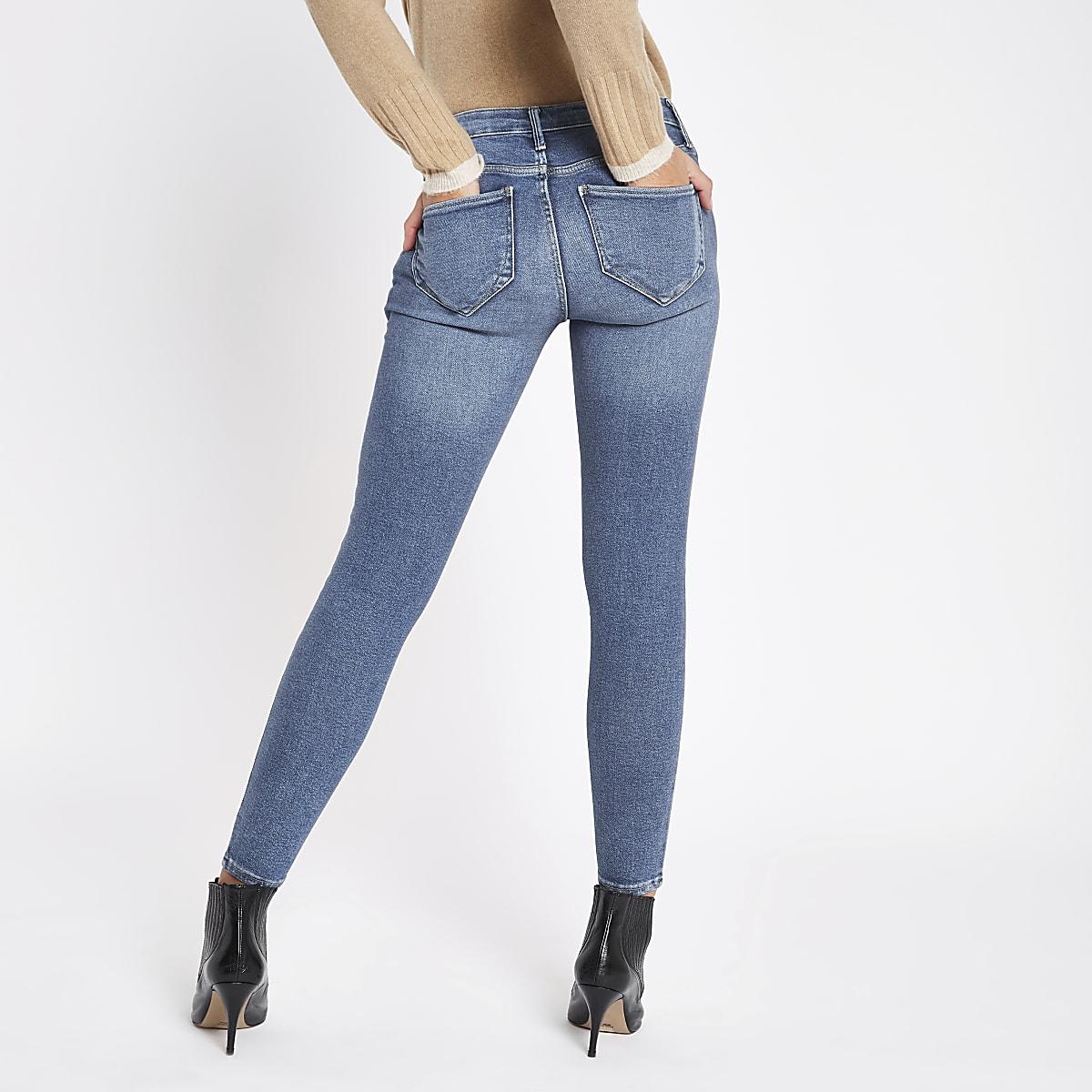 eca47eb290bc7 Dark blue denim Molly mid rise jeggings - Jeggings - Jeans - women