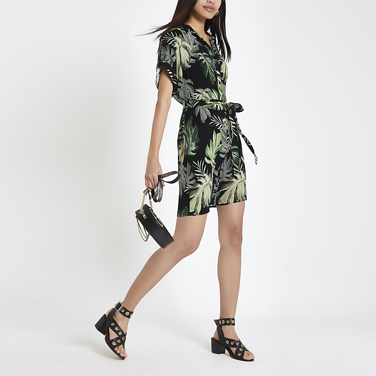 Green palm print shirt dress
