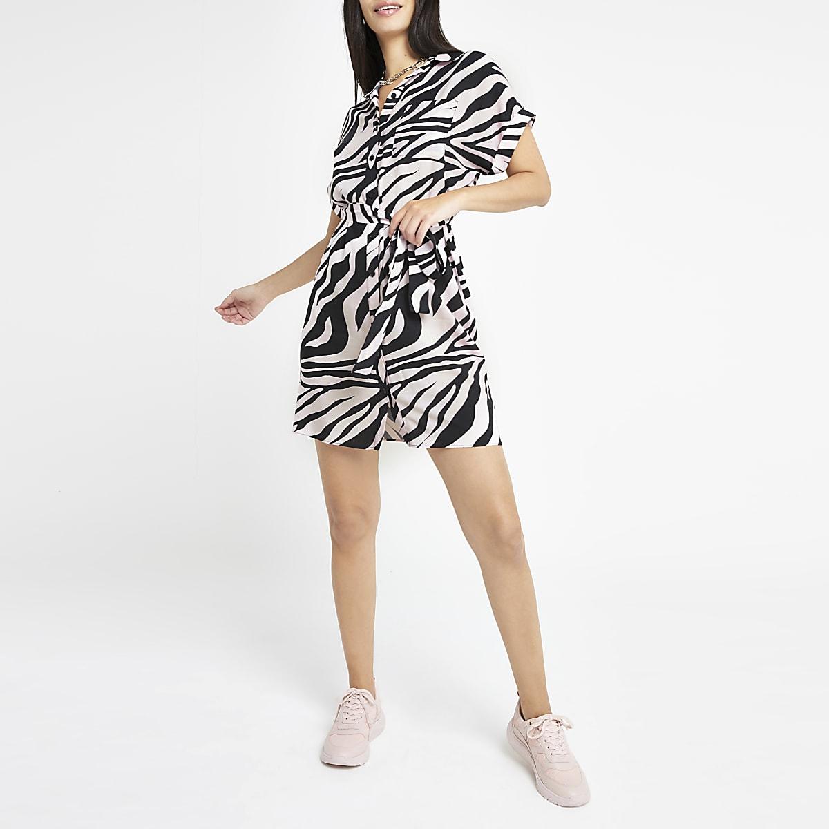 Pink zebra print shirt dress