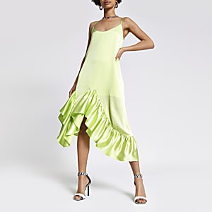 Lime frill midi slip dress