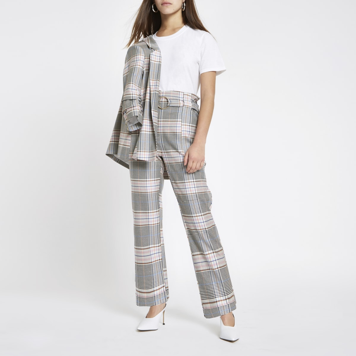 Petite pink check paperbag peg trousers