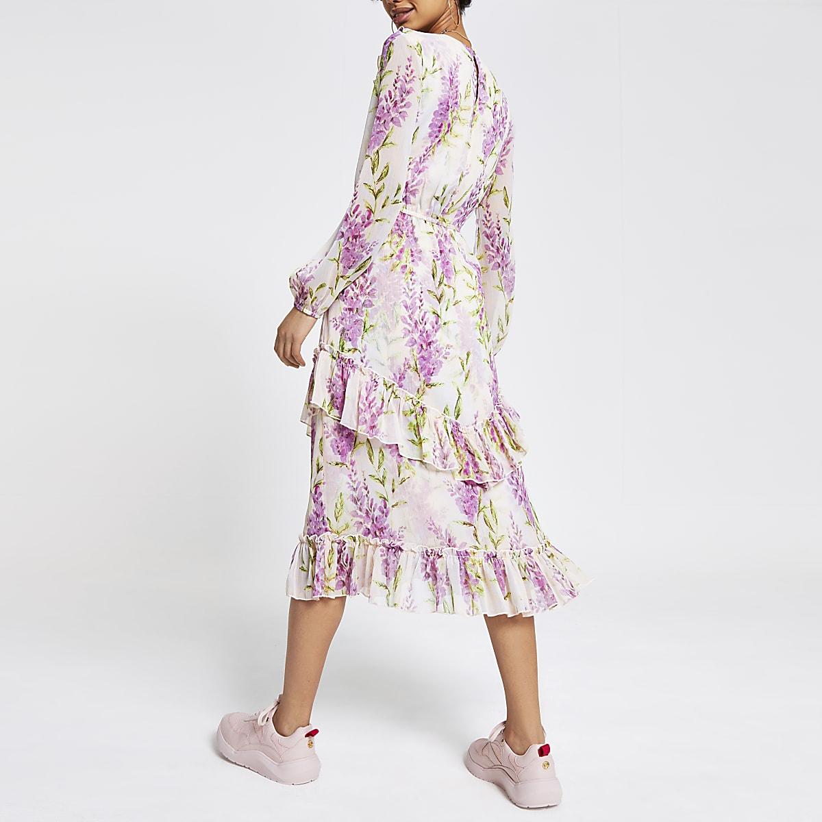 f9cf2dcdbdd33 Purple floral frill maxi dress - Maxi Dresses - Dresses - women