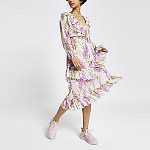 Paarse maxi-jurk met bloemenprint en ruches