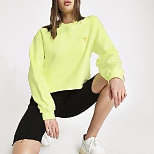 Neon yellow wasp embroidered sweatshirt