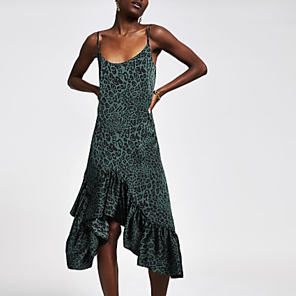 Green leopard print frill midi slip dress