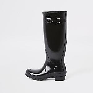 f584443cf Brown snake print knee high boots. Black; Brown. Hunter black tall gloss  wellington boots