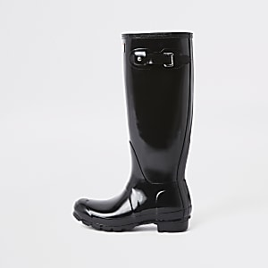 Hunter – Hohe Wellington-Stiefel in Schwarz
