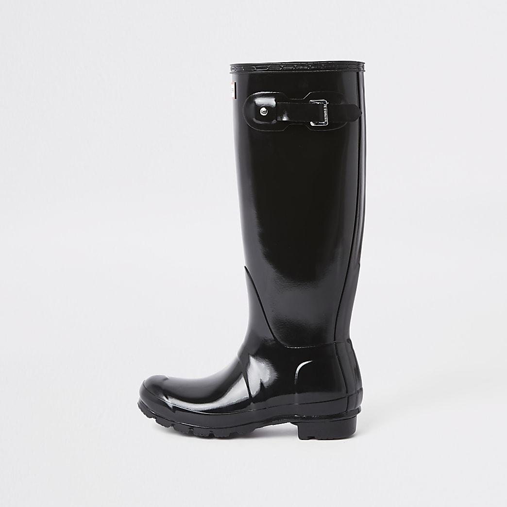 Hunter black tall gloss wellington boots