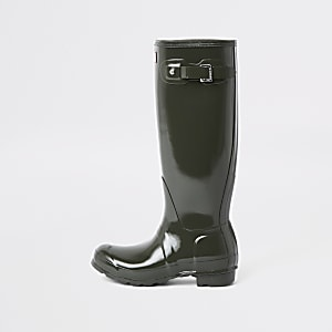 Hunter khaki tall gloss rubber boots