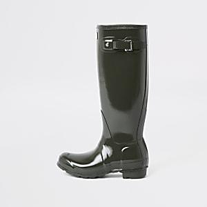 Hunter khaki tall gloss rubber boots