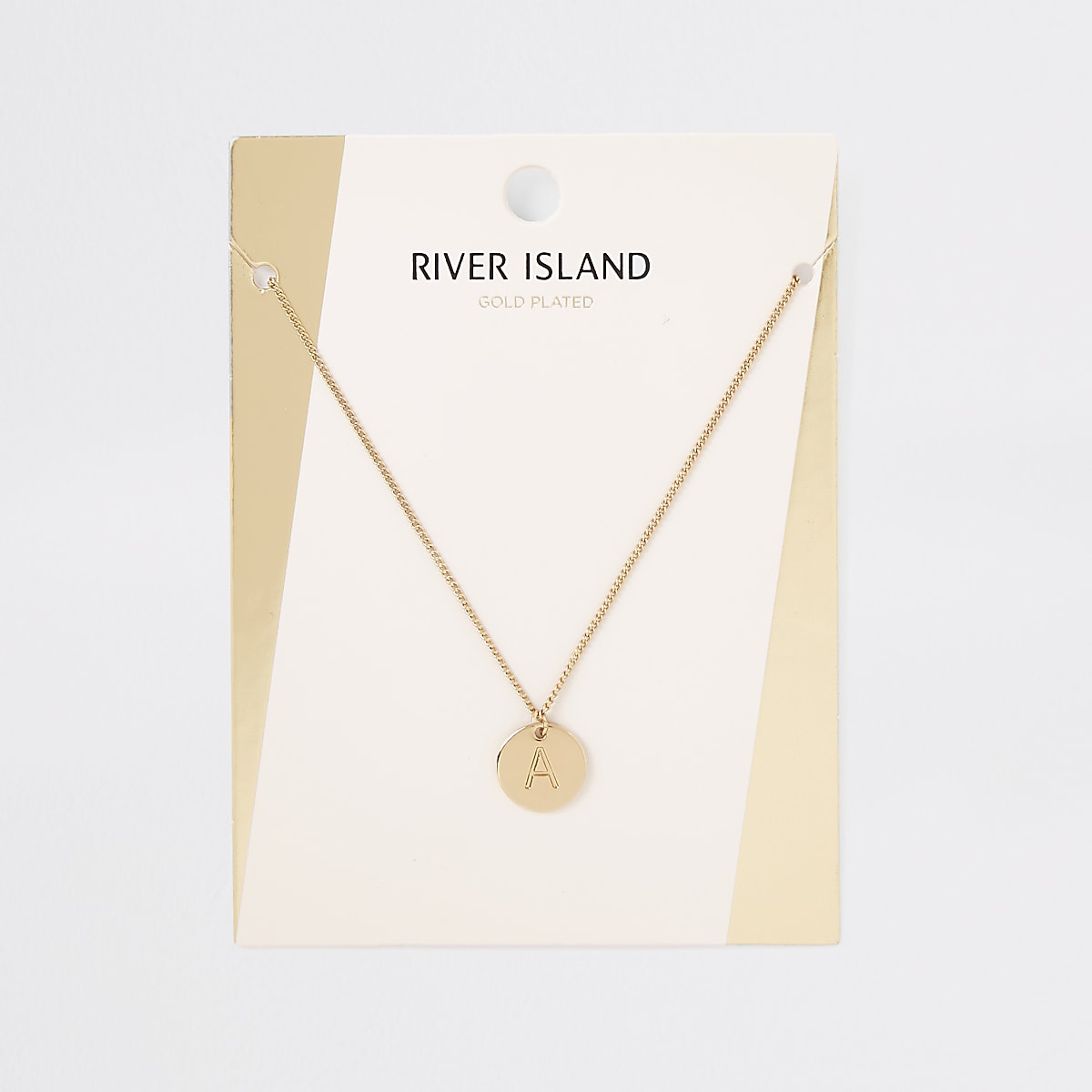 Gold plated 'A' engraved necklace