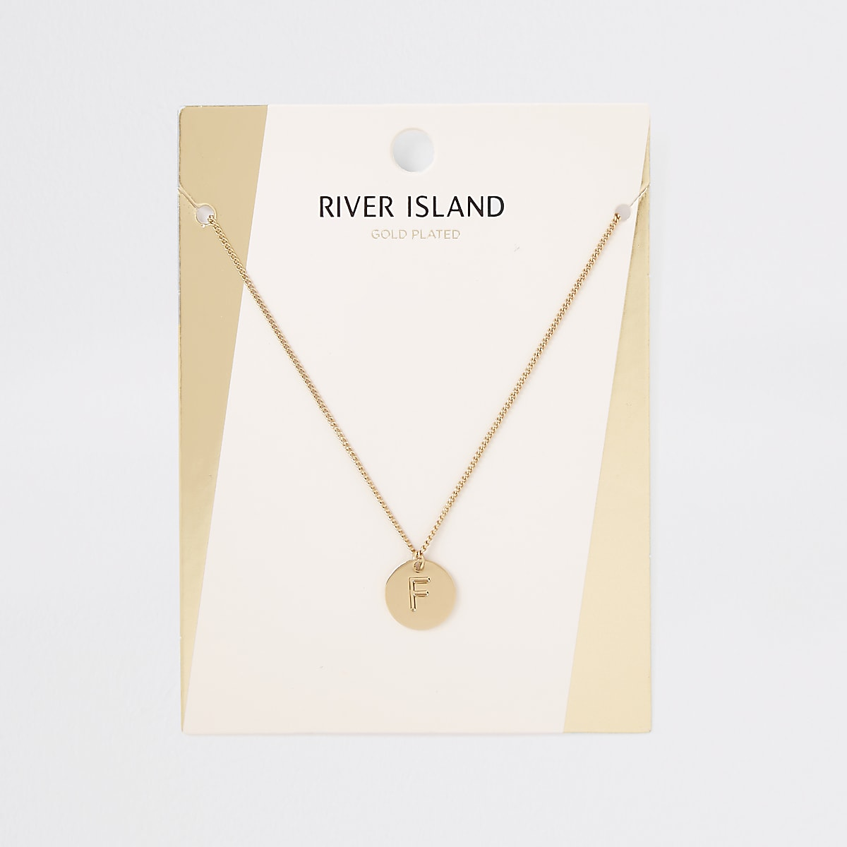 Gold plated 'F' engraved necklace