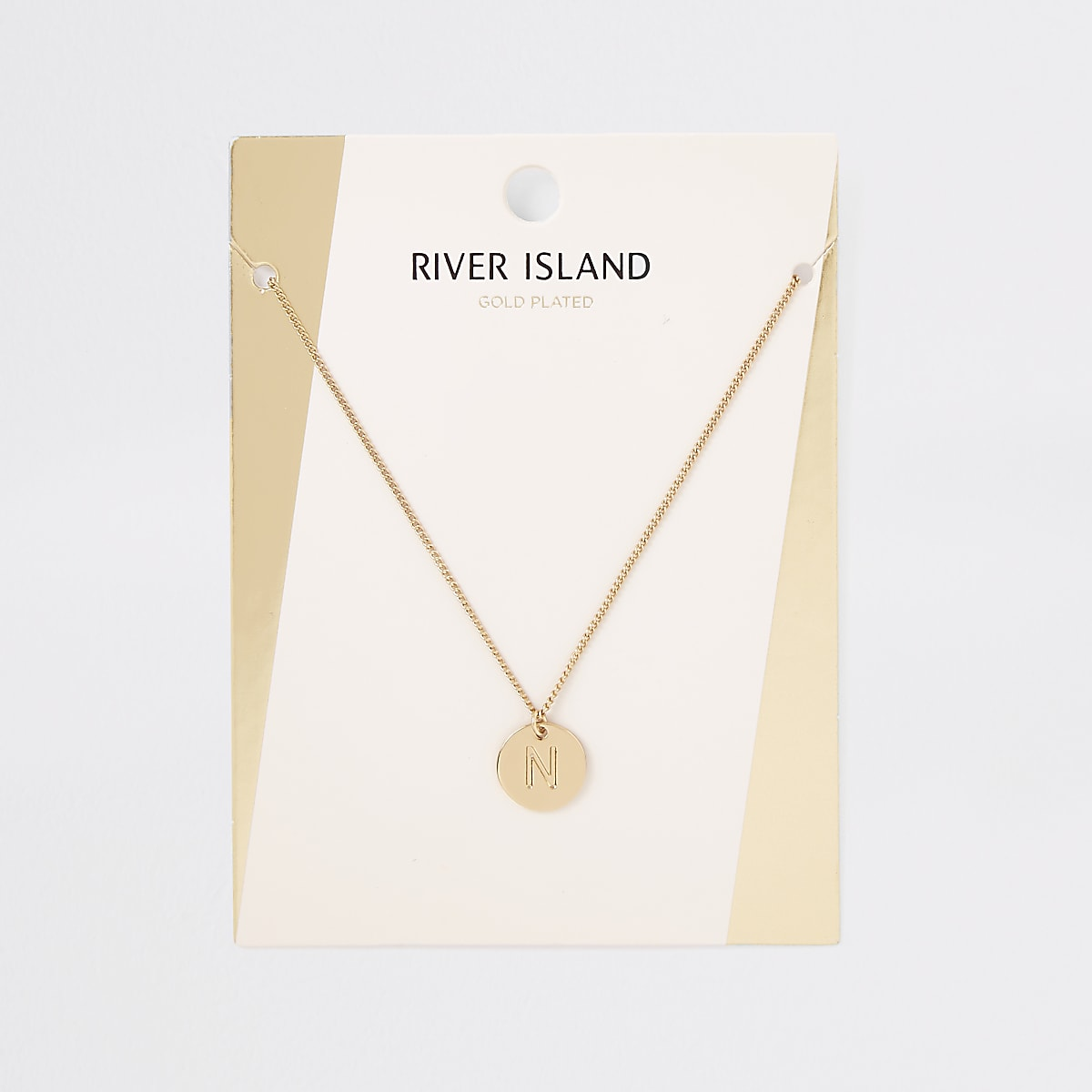 Gold plated 'N' engraved necklace