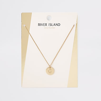Gold plated 'G' engraved necklace