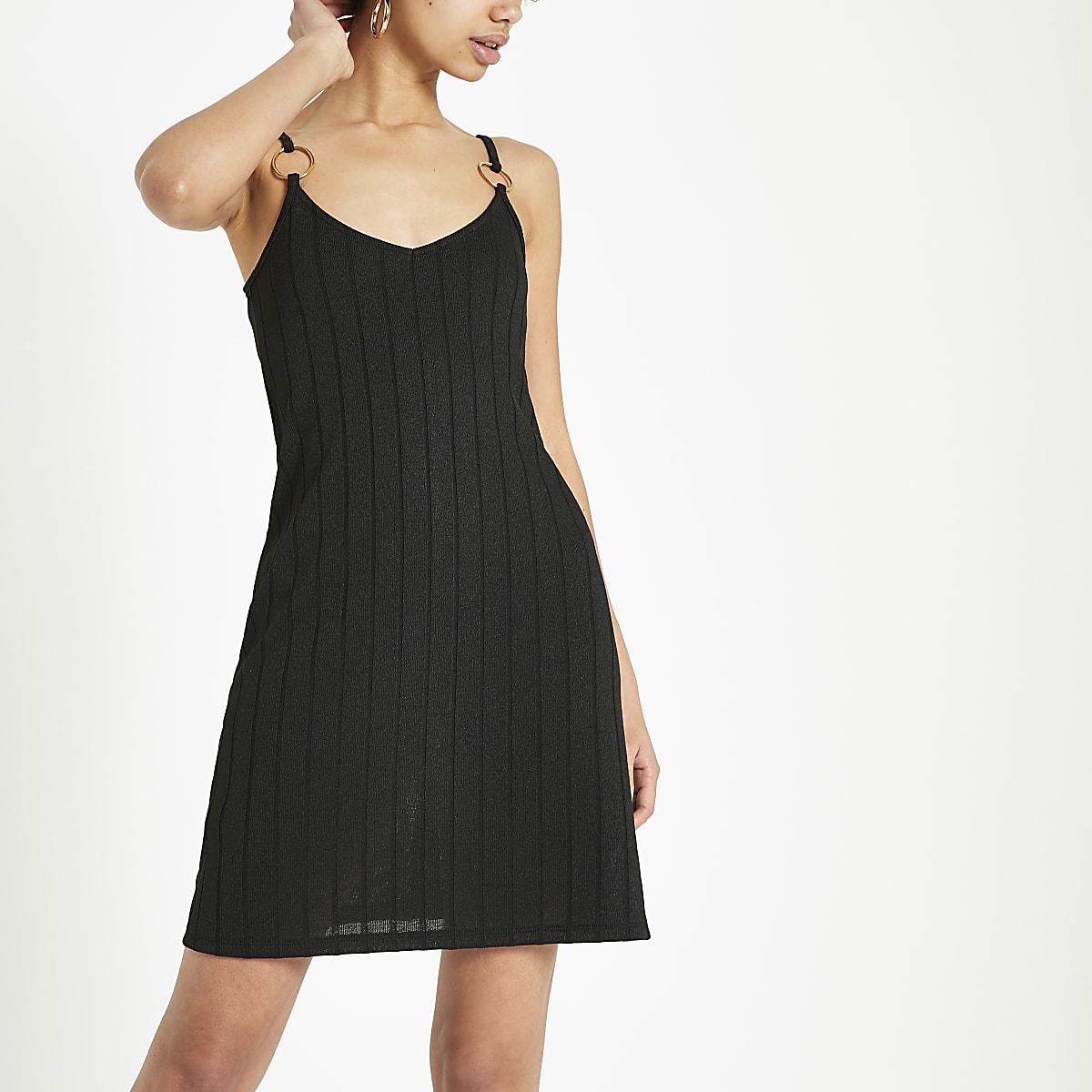 a5f16556 Black textured jersey swing dress - Swing Dresses - Dresses - women