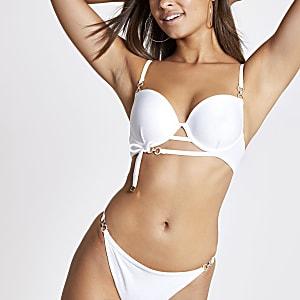 White rhinestone trim plunge bikini top