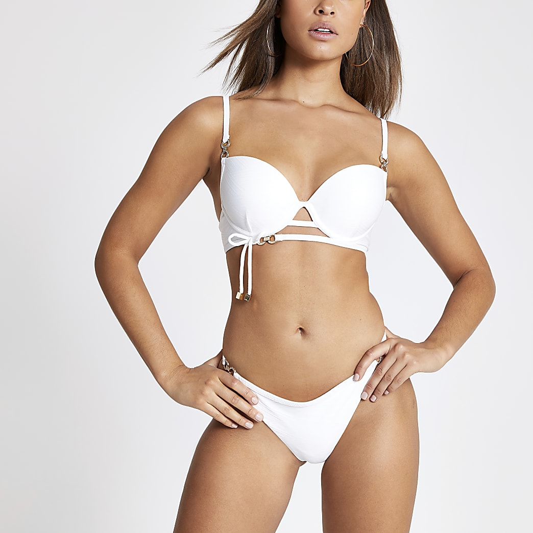 White diamante trim high leg bikini bottoms