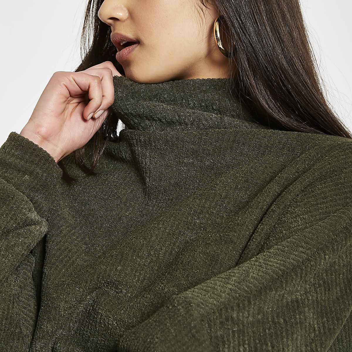 Khaki high neck batwing jumper