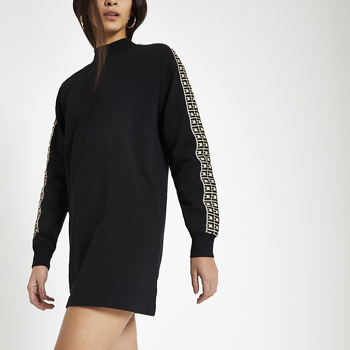 Black RI diamante trim jumper dress