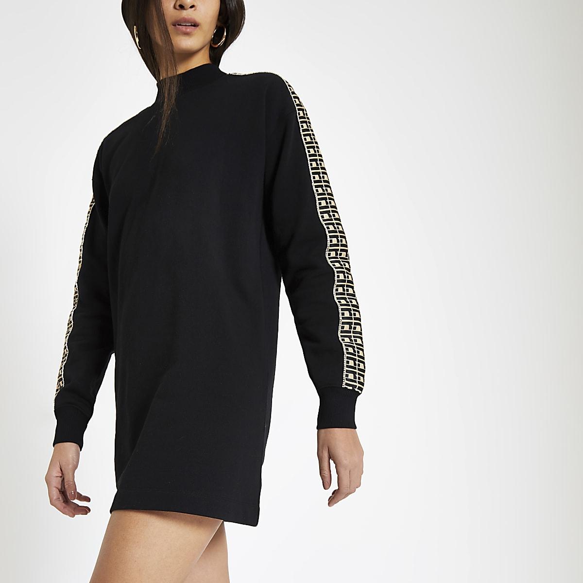 Black RI diamante trim jumper dress