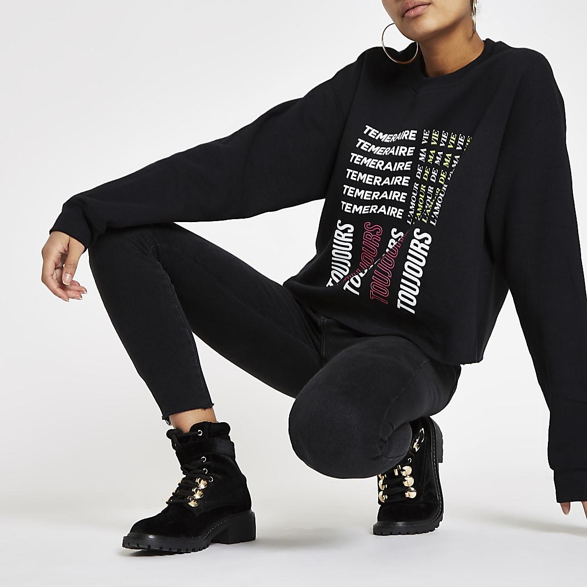 Zwart sweatshirt met 'Toujours'-print en onafgewerkte zoom