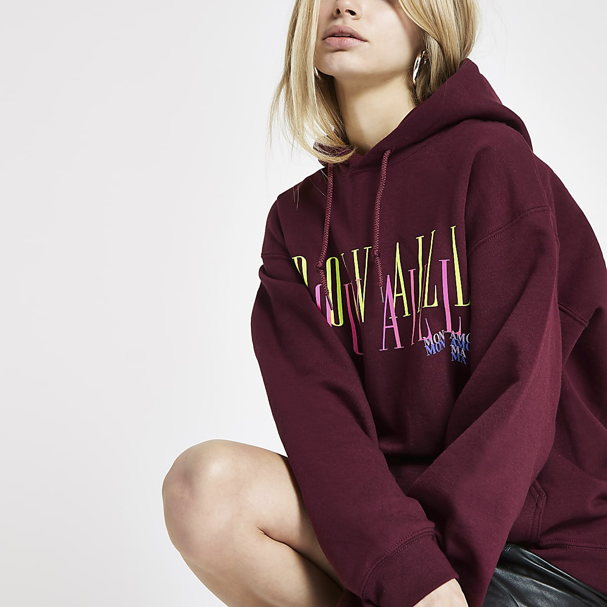 Burgundy 'Trouvaille' neon print hoodie