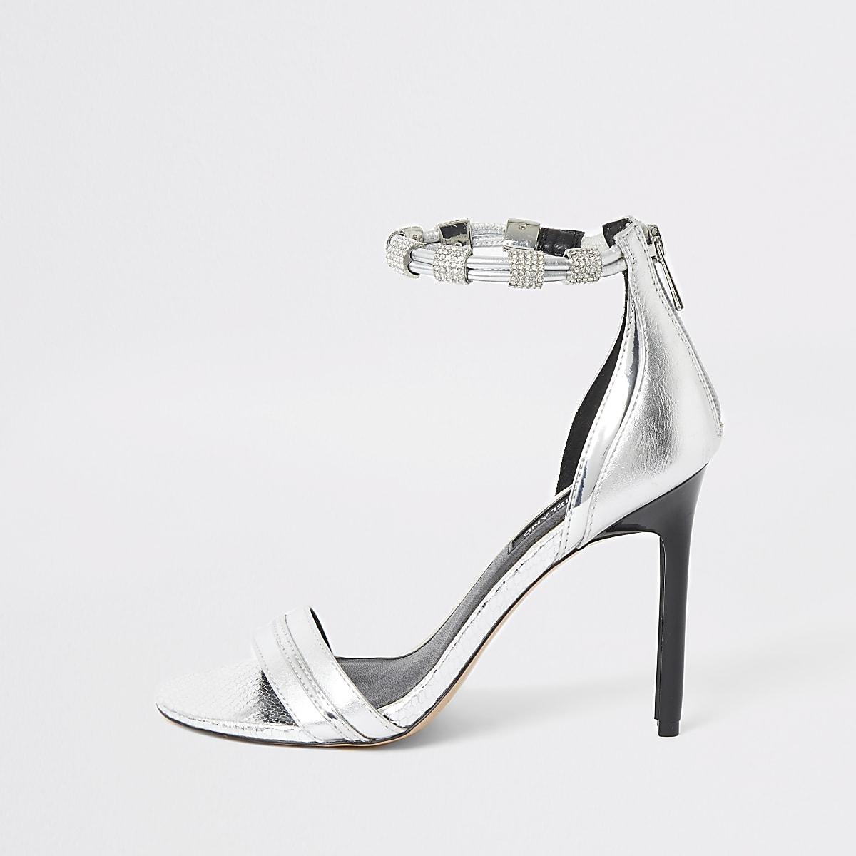 Silver diamante strap skinny heel sandal