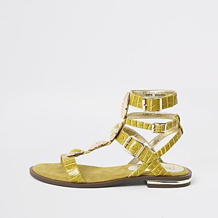 Yellow gem gladiator sandals