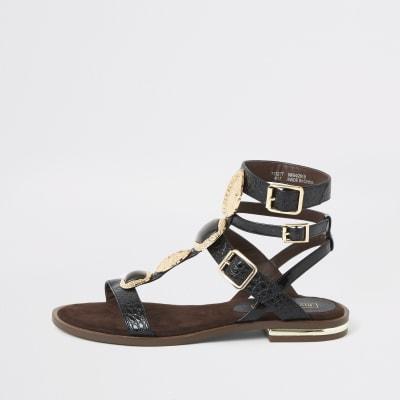 Black gem gladiator sandals
