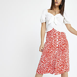 Red print button midi skirt