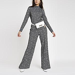 Black jacquard geo print trouser set