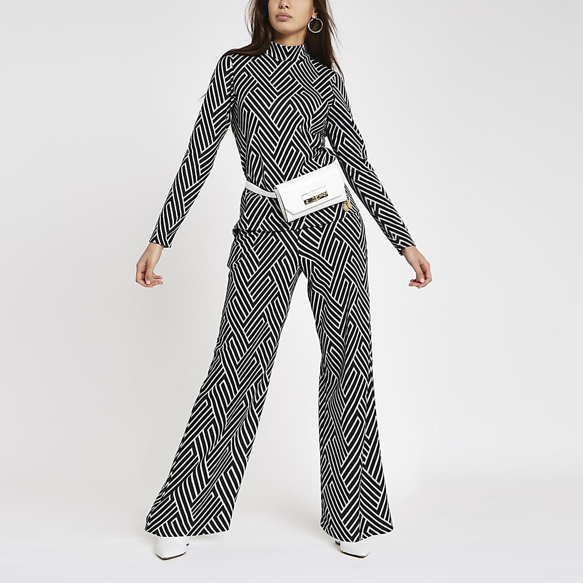 Ensemble pantalon en jacquard à imprimé géométrique noir